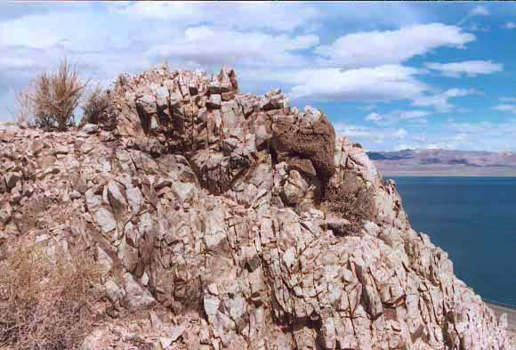Uplifting rock, Walker Lake, NV